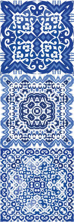 Ornamental azulejo portugal tiles decor. Kit of vector seamless patterns. Original design. Blue gorgeous flower folk prints for linens, smartphone cases, scrapbooking, bags or T-shirts. Stock Illustratie
