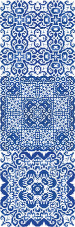 Decorative color ceramic azulejo tiles. Bathroom design. Collection of vector seamless patterns. Blue folk ethnic ornaments for print, web background, surface texture, towels, pillows, wallpaper.
