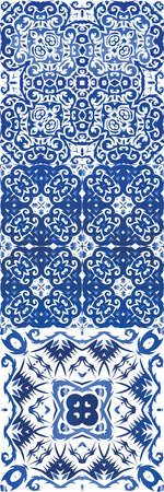 Antique portuguese azulejo ceramic. Kit of vector seamless patterns. Bathroom design. Blue floral and abstract decor for scrapbooking, smartphone cases, T-shirts, bags or linens.