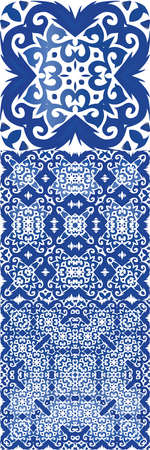 Antique azulejo tiles patchworks. Bathroom design. Kit of vector seamless patterns. Blue spain and portuguese decor for bags, smartphone cases, T-shirts, linens or scrapbooking.