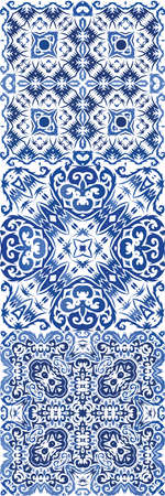Antique portuguese azulejo ceramic. Kit of vector seamless patterns. Universal design. Blue floral and abstract decor for scrapbooking, smartphone cases, T-shirts, bags or linens. Stock Illustratie