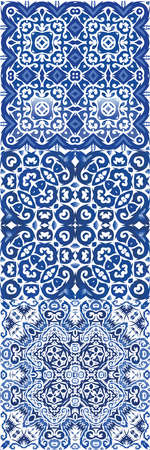 Ornamental azulejo portugal tiles decor. Collection of vector seamless patterns. Bathroom design. Blue gorgeous flower folk prints for linens, smartphone cases, scrapbooking, bags or T-shirts. Stock Illustratie