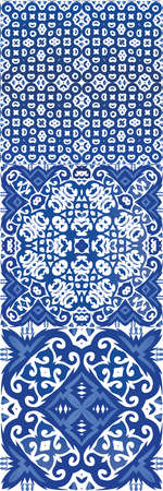 Portuguese ornamental azulejo ceramic. Kitchen design. Set of vector seamless patterns. Blue vintage backdrops for wallpaper, web background, towels, print, surface texture, pillows.