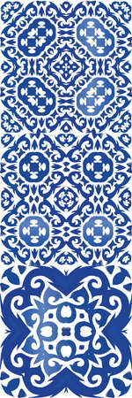Ceramic tiles azulejo portugal. Collection of vector seamless patterns. Colored design. Blue ethnic backgrounds for T-shirts, scrapbooking, linens, smartphone cases or bags.
