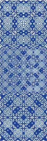 Antique azulejo tiles patchworks. Hand drawn design. Kit of vector seamless patterns. Blue spain and portuguese decor for bags, smartphone cases, T-shirts, linens or scrapbooking.