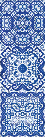 Ornamental azulejo portugal tiles decor. Original design. Collection of vector seamless patterns. Blue gorgeous flower folk prints for linens, smartphone cases, scrapbooking, bags or T-shirts.