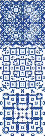 Ornamental azulejo portugal tiles decor. Bathroom design. Kit of vector seamless patterns. Blue gorgeous flower folk prints for linens, smartphone cases, scrapbooking, bags or T-shirts.