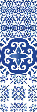 Antique azulejo tiles patchworks. Collection of vector seamless patterns. Kitchen design. Blue spain and portuguese decor for bags, smartphone cases, T-shirts, linens or scrapbooking. Stock Illustratie