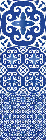 Traditional ornate portuguese azulejos. Fashionable design. Kit of vector seamless patterns. Blue abstract backgrounds for web backdrop, print, pillows, surface texture, wallpaper, towels.