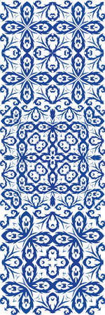 Ethnic ceramic tiles in portuguese azulejo. Set of vector seamless patterns. Hand drawn design. Blue vintage ornaments for surface texture, towels, pillows, wallpaper, print, web background. Stock Illustratie