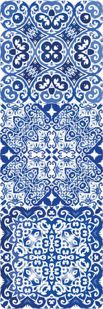Ethnic ceramic tiles in portuguese azulejo. Minimal design. Kit of vector seamless patterns. Blue vintage ornaments for surface texture, towels, pillows, wallpaper, print, web background.