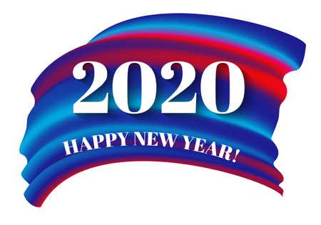 Happy New 2020 Year. Holiday paper style design for calendar, invitation, greeting card, etc. Festive 3d numbers 2020 on multicolored form, isolated on white background. Vector illustration. EPS10.