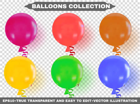 Helium multi-colored realistic glossy balloons. Isolated on transparent background. Birthday baloons flying for your projects, business, design, celebrations and party. EPS10. Vector illustration.