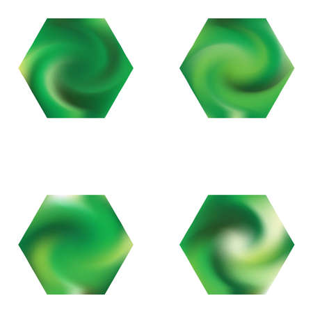 Set of hexagonal modern backgrounds. Surreal style of 90th, 80th. Trendy soft color hexagon. Green fluid colorful gradient shapes for your mobile app and screens.