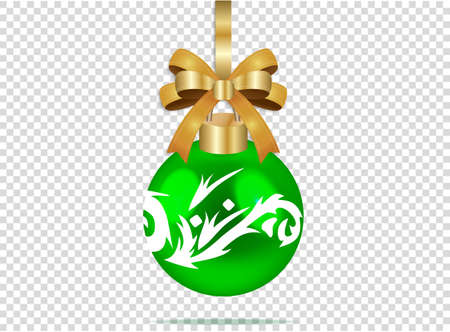 Green christmas glass ball with white patterns on a transparent checkered background. Festive decoration sphere for xmas and new year. Vector illustration of colorful and realistic object. EPS 10.