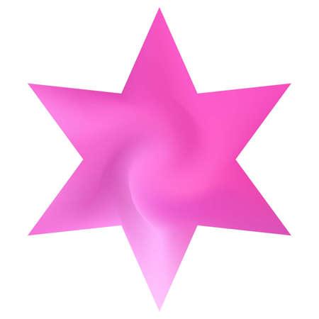 Sfondo colorato sotto forma di esagramma. Effetto colore morbido alla moda. Simbolo religioso sacro ebraico. Modello fluido eco rosa per poster, presentazioni, inviti, brochure o cartoline.
