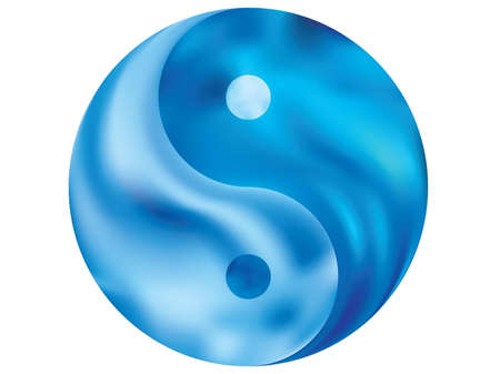 Colored background in the form of yin yang. Trendy soft color backdrop. Traditional original liquid theme. Blue eco fluid template for your poster, presentation, invitation, brochure or cards. Standard-Bild - 134891573
