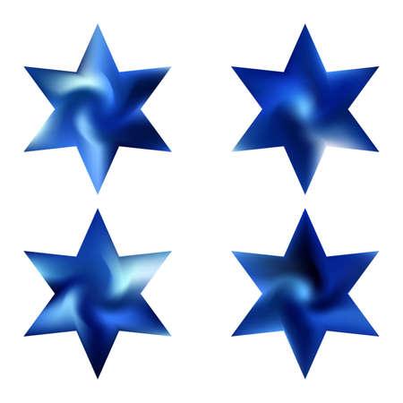 Kit van hexagram gradiënt achtergronden. Goed zacht kleurenconcept. Decoratieve heilige religieuze symbolen. Blauwe moderne, natuurlijke hoezen voor uw creatieve projecten en grafisch ontwerp. Vector Illustratie