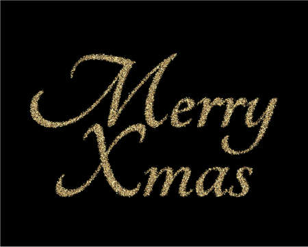 Xmas banner or poster with lettering composition. Golden colored hand drawn calligraphy on black background. Vector illustration. EPS 10. Seasonal flyers and greetings cards for Christmas holydays.