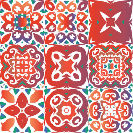 Mexican ornamental talavera ceramic. Modern design. Kit of vector seamless patterns. Red vintage backdrops for wallpaper, web background, towels, print, surface texture, pillows.