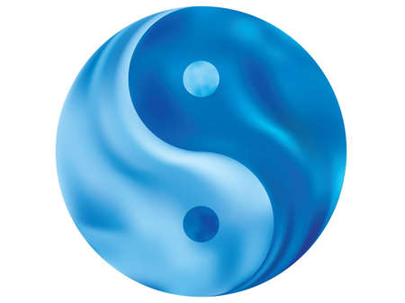Smooth background in the form of yin yang. Trendy soft color backdrop. Buddhist original liquid theme. Blue elegant and easy editable colorful fluid cover for your creative projects.