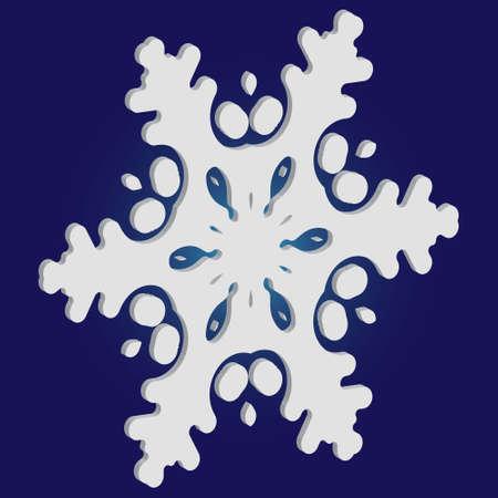 Silhouette isolée de flocon de neige sur fond bleu. Illustration vectorielle - art. Concept magique avec des formes et des couleurs expressives. Le papier blanc a coupé le symbole 3d pour les cartes de Noël, les bannières.