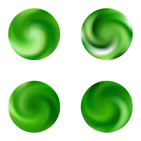 Set with modern round colorful backgrounds. Trendy soft color element. Holographic retro style of 80th. Green elegant and effective gradients, smooth blurred abstract covers. Ilustracje wektorowe