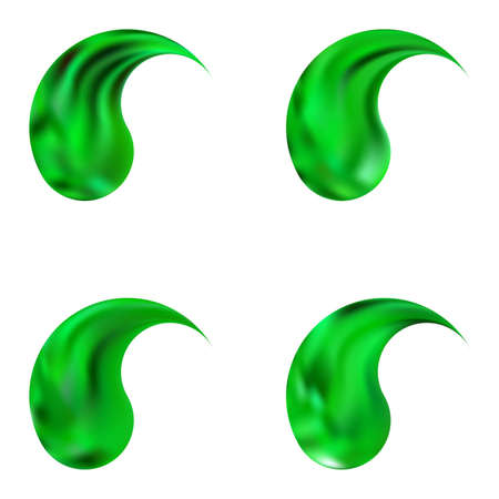 Set of smooth backgrounds with yin or yang. Buddhist original east style. Trendy soft color theme. Green elegant and easy editable colorful fluid covers for your creative projects.