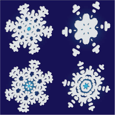 Kit of simple, beautiful snowflakes on blue background. Original concept accurate forms and colors. Vector illustration textures. White luxury isolated 3d silhouettes of frosty christmas symbols.
