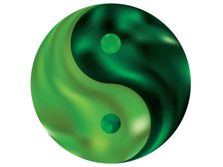 Modern background in the form of yin yang. Trendy soft color logo. Buddhist original liquid theme. Green fluid colorful gradient shape for your mobile app and screens.