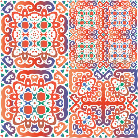 Traditional ornate mexican talavera. Graphic design. Set of vector seamless patterns. Red abstract backgrounds for web backdrop, print, pillows, surface texture, wallpaper, towels.