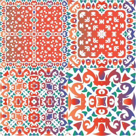 Decorative color ceramic talavera tiles. Original design. Set of vector seamless patterns. Red folk ethnic ornaments for print, web background, surface texture, towels, pillows, wallpaper.