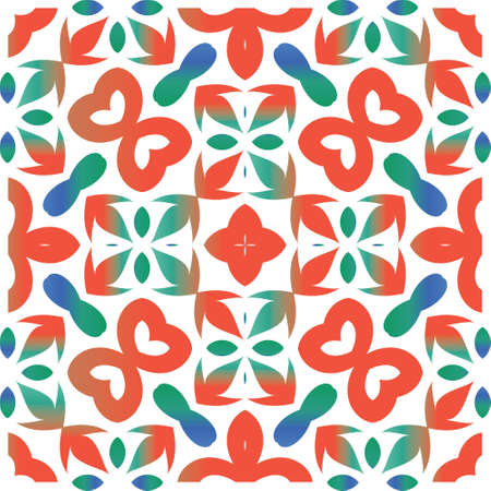 Mexican vintage talavera tiles. Vector seamless pattern texture. Hand drawn design. Red antique background for pillows, print, wallpaper, web backdrop, towels, surface texture.