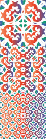 Traditional ornate mexican talavera. Universal design. Kit of vector seamless patterns. Red abstract backgrounds for web backdrop, print, pillows, surface texture, wallpaper, towels. Vektorové ilustrace