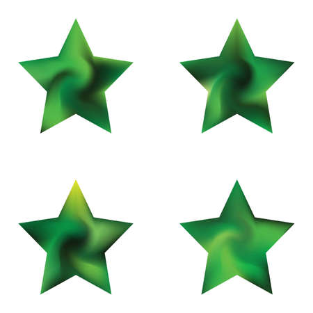 Set of pentagram chromatic backgrounds. Futuristic style of 90th, 80th. Trendy soft color art. Green effective modern screen design for brochure, calendar, cards or invitation.