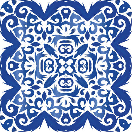 Ethnic ceramic tile in portuguese azulejo. Vector seamless pattern flyer. Creative design. Blue vintage ornament for surface texture, towels, pillows, wallpaper, print, web background. Vectores