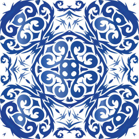 Ornamental azulejo portugal tiles decor. Geometric design. Vector seamless pattern frame. Blue gorgeous flower folk print for linens, smartphone cases, scrapbooking, bags or T-shirts.
