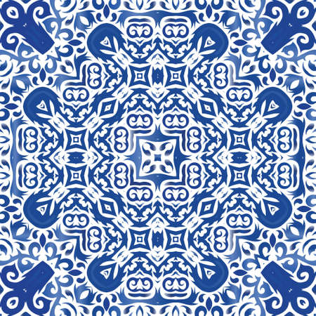 Decorative color ceramic azulejo tiles. Vector seamless pattern frame. Colored design. Blue folk ethnic ornament for print, web background, surface texture, towels, pillows, wallpaper. Çizim