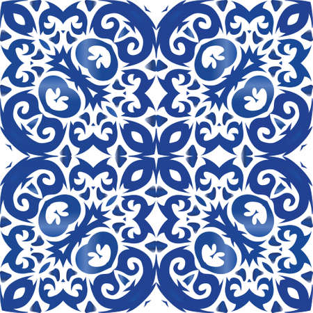 Ethnic ceramic tile in portuguese azulejo. Original design. Vector seamless pattern elements. Blue vintage ornament for surface texture, towels, pillows, wallpaper, print, web background.