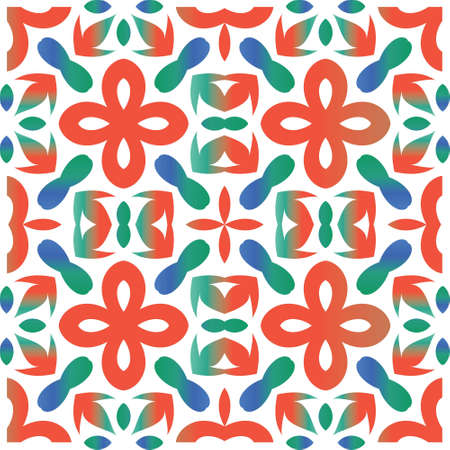 Antique mexican talavera ceramic. Vector seamless pattern flyer. Creative design. Red floral and abstract decor for scrapbooking, smartphone cases, T-shirts, bags or linens. Çizim