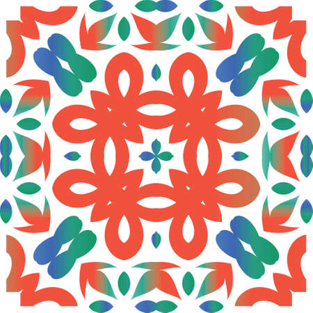 Mexican ornamental talavera ceramic. Vector seamless pattern trellis. Minimal design. Red vintage backdrop for wallpaper, web background, towels, print, surface texture, pillows. Çizim