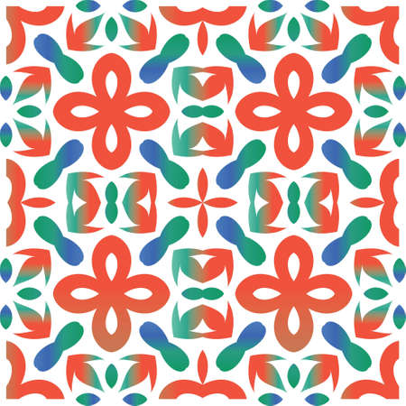 Antique ornate tiles talavera mexico. Minimal design. Vector seamless pattern arabesque. Red ethnic background for T-shirts, scrapbooking, linens, smartphone cases or bags.
