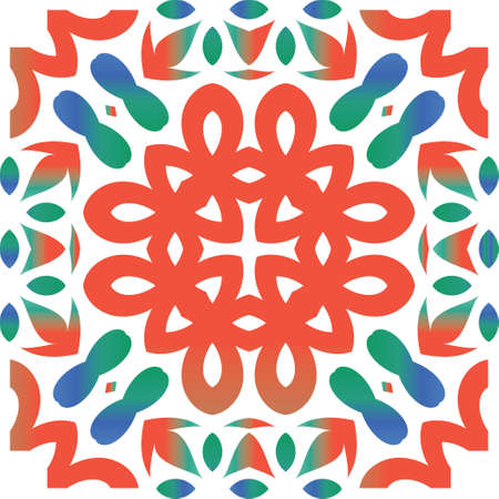 Traditional ornate mexican talavera. Vector seamless pattern trellis. Hand drawn design. Red abstract background for web backdrop, print, pillows, surface texture, wallpaper, towels. Çizim