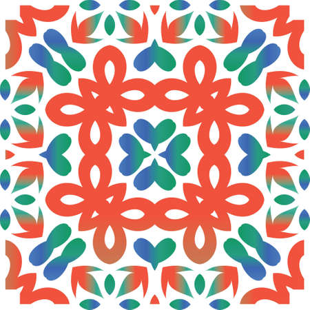 Antique talavera tiles patchwork. Original design. Vector seamless pattern watercolor. Red mexican ornamental decor for bags, smartphone cases, T-shirts, linens or scrapbooking. Çizim