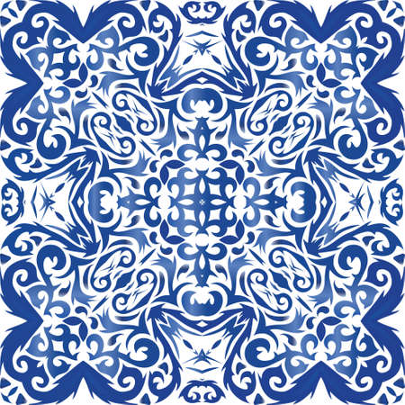 Antique azulejo tiles patchwork. Vector seamless pattern frame. Creative design. Blue spain and portuguese decor for bags, smartphone cases, T-shirts, linens or scrapbooking.