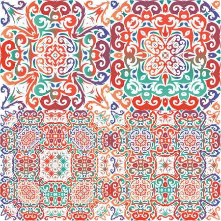 Antique talavera tiles patchworks. Collection of vector seamless patterns. Stylish design. Red mexican ornamental decor for bags, smartphone cases, T-shirts, linens or scrapbooking.