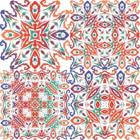 Traditional ornate mexican talavera. Set of vector seamless patterns. Bathroom design. Red abstract backgrounds for web backdrop, print, pillows, surface texture, wallpaper, towels. Çizim