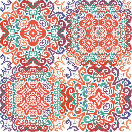 Mexican ornamental talavera ceramic. Collection of vector seamless patterns. Minimal design. Red vintage backdrops for wallpaper, web background, towels, print, surface texture, pillows.