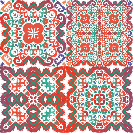 Antique mexican talavera ceramic. Set of vector seamless patterns. Bathroom design. Red floral and abstract decor for scrapbooking, smartphone cases, T-shirts, bags or linens.