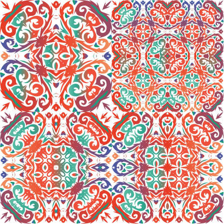Antique talavera tiles patchworks. Minimal design. Set of vector seamless patterns. Red mexican ornamental decor for bags, smartphone cases, T-shirts, linens or scrapbooking.